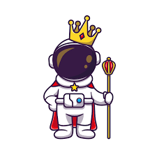 Cute Astronaut King SVG Free With Crown Cartoon - SVG Files