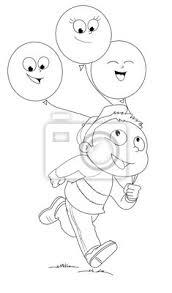 Illustrazione Da Colorare Di Bambino Che Ent Con Palloncini