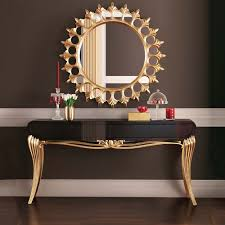 gold console table. Modern Black Lacquered Gold Leaf Console Table