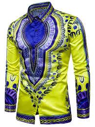 Long Sleeves Yellow L Turndown Collar Tribal Print Color Block
