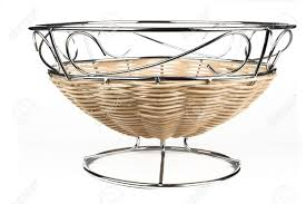 modern style fruit basket made of steel wire and rattan decoration