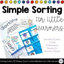5 W S Anchor Chart Simple Sorting For Little Learners Colors 2d Shapes Sizes Letters Numbers