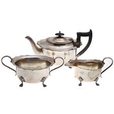 Чайный <b>набор из 3</b>-<b>х</b> предметов. Металл, дерево, серебрение ...