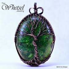 glow in the dark tree of life orgonite pendant handmade wire wrap