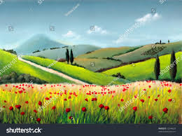 farmland in tuscany italy original hand painted ilration