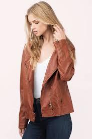 tobi leather jackets camel kayliegh hooded moto jacket tobi