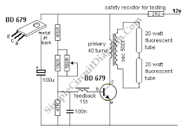 12v 6 12 watt fluorescent tube neon lamp inverter bd679 circuit 6 to 12 watt fluoro inverter circuit schematic diagram