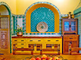 Yellow And Black Kitchen Decor Kitchen Earthy Spanish Kitchen With Sturdy Black Island And Clay