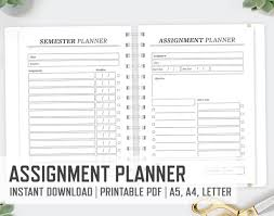 Assignment Letter Stunning Study Assignment Planner A48 A48 Letter School Semester Etsy
