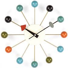 midcentury modern reproduction ball clock  multi