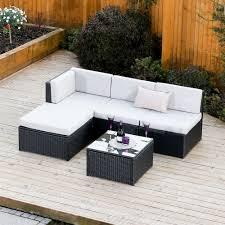 black garden furniture covers. 5 Piece Faro Modular Rattan Corner Sofa Set In Black With Light Cushions Garden Furniture Covers \