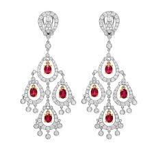 diamond ruby chandelier gold earrings