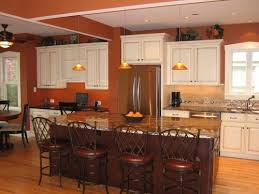 Traditional Orange Kitchen With Two-Toned Cabinetry