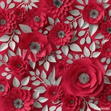 Buy Paper Flower 3d Illustration Decorative Red Paper Flowers Valentines