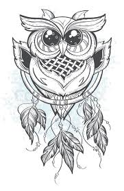 Dream Catcher Outline Dream catcher outline vector illustration with owl feathers 22