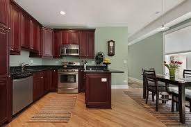 Light Sage Green Paint Colors In Kitchen With Dark Mahogany Cabinets