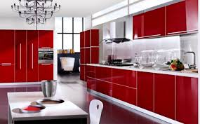 Red Wall Kitchen Kitchen Fascinating Red Kitchen Cabinet Designs With Black Metal
