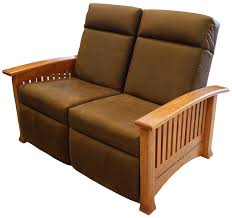 modern mission double recliner loveseat in leather with optional ebony inlay shown cherry modern reclining loveseat o10