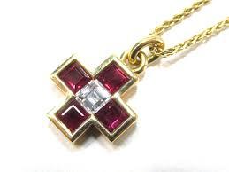 authentic bvlgari cross necklace ruby diamond brand jewelry k18yg 750 yellow gold x ruby x diamond