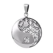 925 sterling silver yin ying yang flower of life sacred geometry pendant