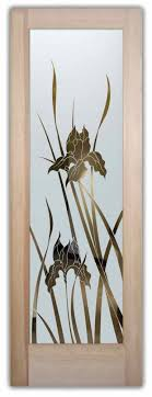 glass front doors etched glass iris flower