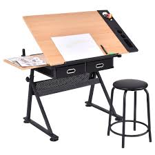 drafting table desk. Costway Adjustable Drafting Table Art Craft Drawing Desk Hobby W/ Stool And Drawers 0 S