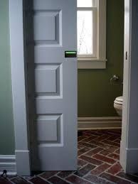 pocket door bathroom privacy lock occupied vacant indicator sliding glass