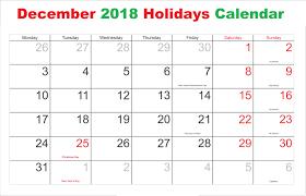 December 2018 Calendar With Holidays Canada Blank Calendar Template