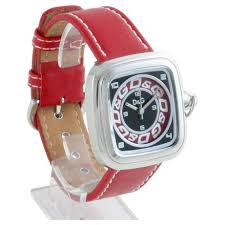 d g cherokee red leather designer mens watch dw0184