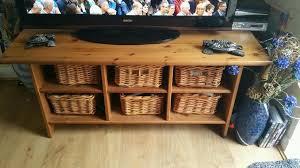 ikea leksvik tv coffee table with wicker baskets