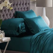 teal silk bedding set
