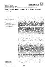 PDF) Science versus politics: truth and uncertainty in predictive modelling  | Ruza Ivanovic - Academia.edu