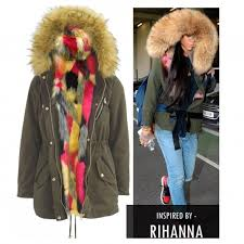 rihanna inspired faux fur gilet parka jacket multi colour