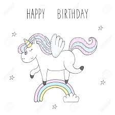 Cute Unicorn Print For Kids Happy Birthday Card Royalty Free