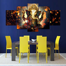 5 panels elephant trunk god modular lord ganesha canvas prints painting wall art pictures 5 panels for living room frame in painting calligraphy from home  on ganesh canvas wall art with 5 panels elephant trunk god modular lord ganesha canvas prints
