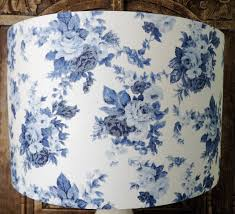 Shabby Chic Table Lamps For Bedroom Blue And White Rose Floral Lampshade Shabby Chic Lamp Shade