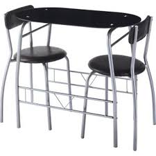 miami black glass dining table and 2 chairs breakfast set