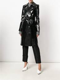 helmut lang jackets trench patent leather trench black tessabit