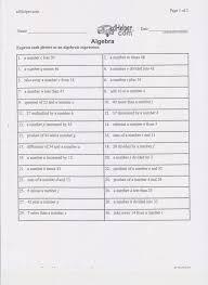 translating algebraic phrases a algebra worksheet