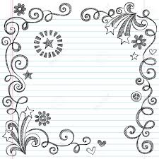 back to sketchy notebook doodle border with stars and swirls ilration design elements on