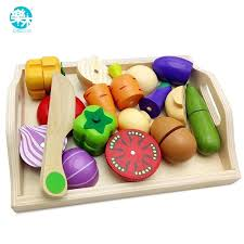 baby play kitchen ikea wooden toys pretend cutting fruit and vegetable education food