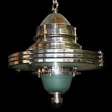 5801 Fabulous Art Deco Machine Age Hanging Lighting Fixture