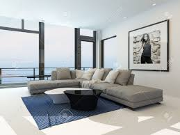 Modern Waterfront Living Room With A Bright Airy Lounge Interior