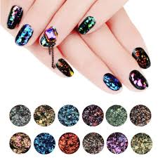 Makartt 12 JarsChameleon Glitter Flakes Galaxy Nail Sequins Nail ...