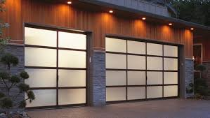 with recessed lights overhead these translucent garage doors have a glowing effect that s quite inviting
