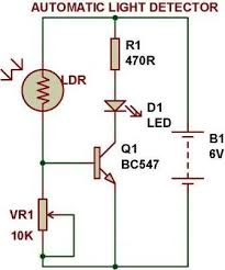 dark light sensor using transistor build circuit dark light sensor