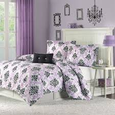 purple and black damask bedroom bedding