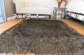 30off new design 36 x 58 faux fur rug black tip wolf fur rectangle cabin rug flokati plush fur rugs