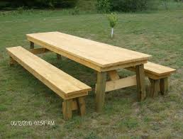 Building Dining Table Details About Classic Picnic Table With Separate Benches Plan How