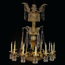 12 arm crystal chandelier large antique french empire style possibly baccarat arm bronze and crystal 3
